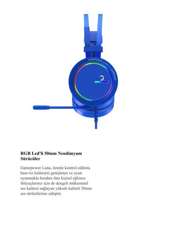 Gamepower Luna RGB 7.1 PRO Oyuncu Kulaklığı KırmızıGamepower Luna RGB 7.1 PRO Oyuncu Kulaklığı Kırmızı