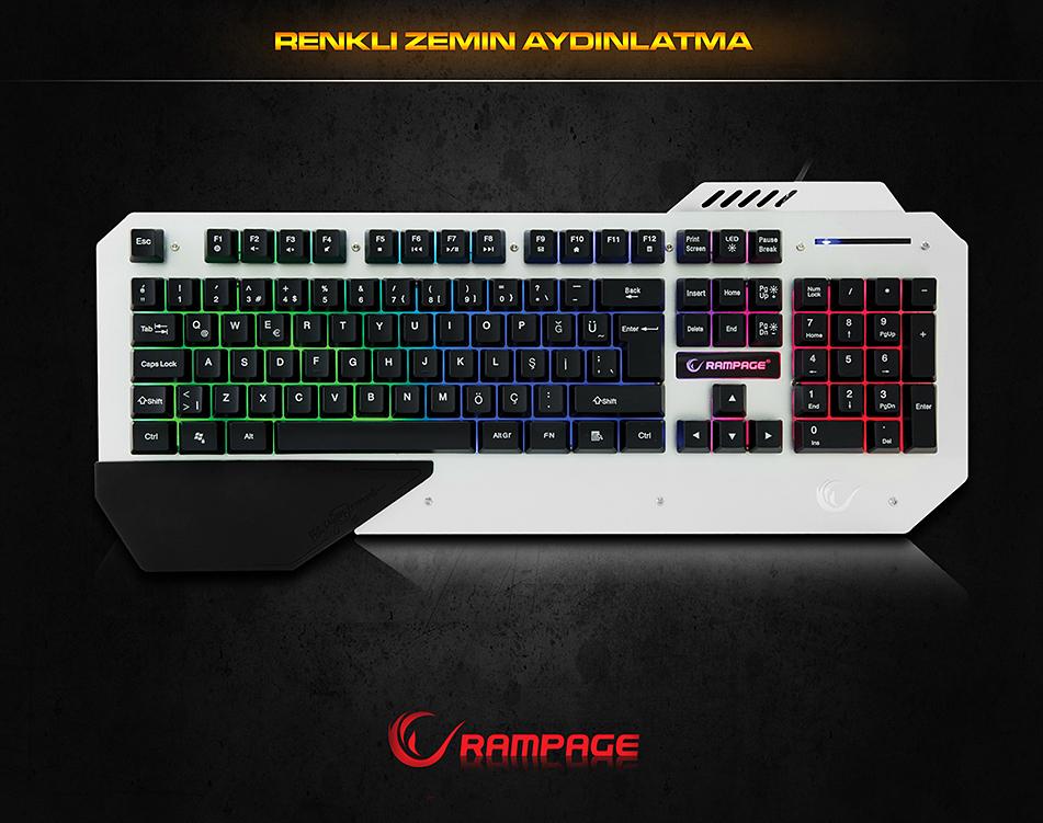 Rampage KB-R04 Siyah USB Aydınlatmalı Oyuncu Q Multimedia Klavye