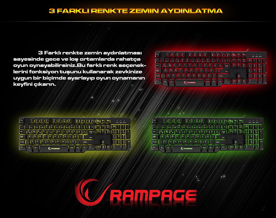Rampage KB-R8 3 Farklı Aydınlatmalı Mekanik Hisli Oyuncu Klavyesi (14475)