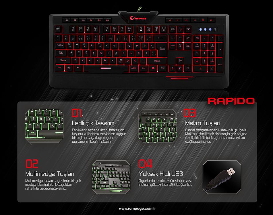 Rampage Rapido KB-R03 Siyah USB 7 Renk Aydınlatmalı Q Multimedia Makrolu Oyuncu Klavye