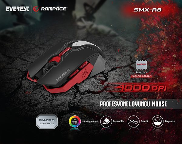 Rampage SMX-R8 Usb Siyah 6D 7 Farklı Led Adınlatma Makrolu Oyuncu Mouse