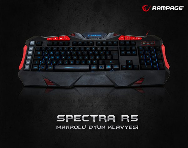 Rampage SPECTRA R5 Siyah USB 7 Renk Aydınlatmalı Q Multimedia Makrolu Oyuncu Klavye