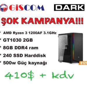* AMD Ryzen 3 1200AF 3.1GHzŞOK KAMPANYA!!!410$ + kdv* 500w Güç kaynağı* 240 SSD Harddisk* 8GB DDR4 ram* GT1030 2GB