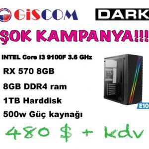 Dark E100 INTEL Core I3 9100F 3.6GHz, 8GB Ram, RX570 4GB, 1TB HDD Oyuncu Bilgisayarı