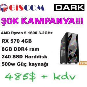 Dark E202 AMD Ryzen 5 1600 3.2GHz, RX570 4GB, 8GB Ram Oyuncu Bilgisayarı